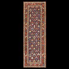 Stock Id: #18331    General Rug Type:       Caucasian    Specific Rug Type:       Caucasian - Kazak    Circa: 1890    Color: Blue    Origin: Caucasus    Width: 3' 6'' ( 106.7 cm )    Length: 9' 10'' ( 299.7 cm )