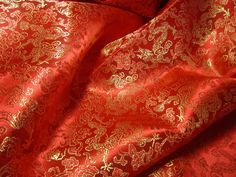 3acd9d3ff8b3ec Chinese brocade fabric in bright red with golden dragons - 1 yard of bright  red…
