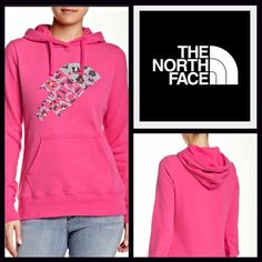 """North Face Hoodie Pullover Sweatshirt  NEW WITH TAGS   THE NORTH FACE Retail Price: $ 55 Sweatshirt Hoodie Pullover   * Super soft & comfy fabric.   * A longer length; It measures about 27"""" long.   * Attached hood, front kangaroo pockets, & long sleeves w/banded cuffs.  * Graphic print on front.   * A pullover style.     Fabric: Cotton-Polyester blend Color: Glo Pink Heather Item:   No Trades ✅ Offers Considered*✅  *Please use the blue 'offer' button to submit an offer. North Face Jackets…"""