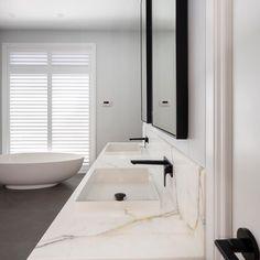 Natural Stone Bathroom, Natural Stones, Statuario Marble, Modern Bathroom Design, Bathtub, Vanity, Luxury, Bathrooms, Instagram