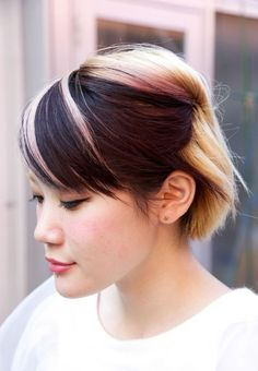 short asian hair with highlights Love the COLOR