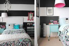 Las adolescentes y sus cuartos  En blanco y negro y rayas         Foto:Pink-postcard.com