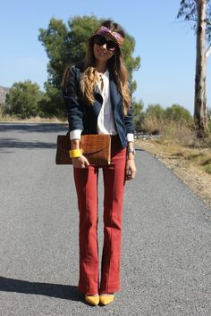 blue blazer brown purse red jeans yellow shoes sunglasses spring fall outfits womens fashion clothes style apparel clothing closet ideas