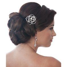 Vintage Rosette Pearl and Crystal Brooch - Bridal Jewellery - Crystal Bridal Accessories