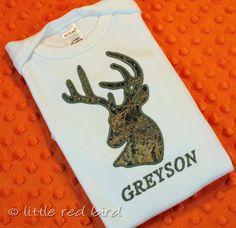 Custom Applique Deer Head Hunter Camouflage by littleredbirdshop, $26.00