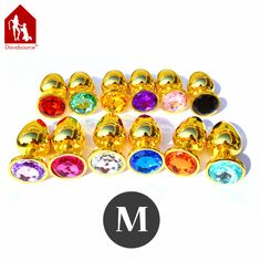 """Davidsource Jewled 69mm"""" Golden Metal Jewelry Butt Anal Plug Anus Sex Receiver Joy Pig Fantasy Naughty Sex Toy Sex Product #Affiliate"""