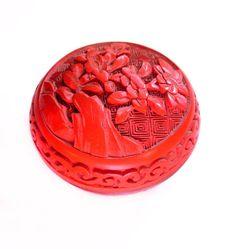 Vintage Red Cinnabar Trinket Box