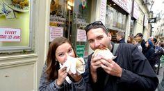 Meg and Tony enjoying Paris street food.