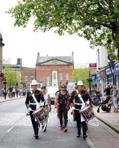 Marching through Taunton town centre