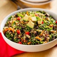Kale and Quinoa Salad with Black Beans is a complete and colorful meal.