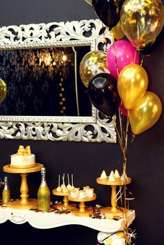 Party like a rock star! Ideas for a fun rock star birthday party - fun way to celebrate a milestone birthday. Love this glam pink, black, and gold theme.