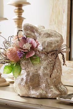 Glimmering with hand-placed shells, Pier 1's Glitter Capiz Rabbit with Eggs comes prepared for your Easter gathering with its own bouquet of eggs.