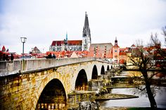Old Stone Bridge (Steinerne Brücke) and Tower with Cathedral in Regensburg Germany ...walked across this bridge in 2010 Nice town on Danube River