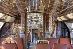 The newly redecorated six-car Versailles train - one of five château-decor trains that are scheduled to be in daily service by the end of the year - RER C line