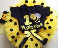 Best quality Newborn baby Tutu Long dresses for your baby, You'll find that we have a nice selection of hand made infant toddler dress clothes. 1st Birthday Girls, 1st Birthday Parties, Fruit Birthday, Bumble Bee Birthday, Bee Party, Baby Tutu, Bee Theme, Tutus For Girls, 1st Birthdays