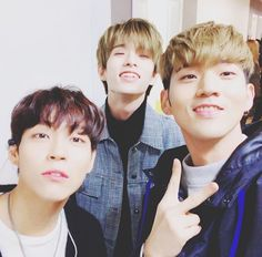 Woosung (The Rose), Jae (DAY6) & BM (K.A.R.D) I'm glad three of my fav people are all friends.  #therose #woosung #day6 #jae #kard #bm #kpop