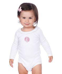White Monogram Bodysuit - Infant