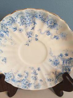 Blue Floral China, Turin China, Delicate Blue China, China Saucer, Candleholder, Mosaic China, Vintage Ring Dish