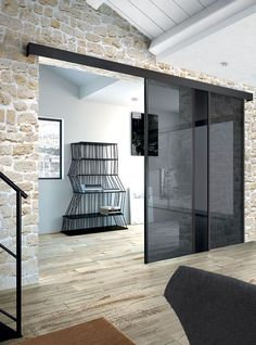 Glass Sliding Wardrobe Doors, Sliding Door Design, Sliding Glass Door, Sliding Doors, Glass Door Lock, Modern Home Offices, Cozy Home Office, Partition Design, Futuristic Furniture