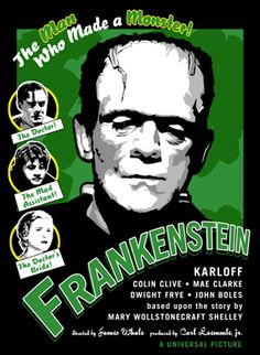 Items similar to Frankenstein Original Poster Illustration on Etsy Classic Monster Movies, Classic Horror Movies, Classic Monsters, Scary Movies, Old Movies, Vintage Movies, Hollywood Monsters, Horror Movie Posters, Theatre Posters