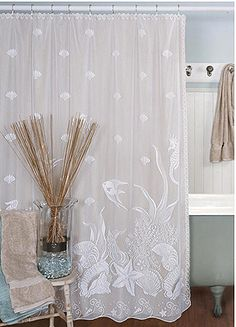 window u0026 door treatments fabulous lace window treatments and shower curtains with shell sea life