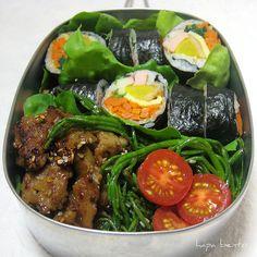 kimbap and sea beans bento. time to make a trip to the Korean grocery