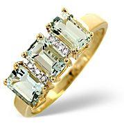 The Diamond Store.co.uk Aqua Marine and 0.02CT Diamond Ring 9K Yellow Gold Aqua Marine amp