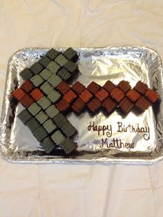 My Minecraft Pickaxe cake. Super easy for everyone at the party to get a piece.
