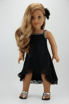 American Girl doll clothes - Black 2 piece high low strappy dress outfit (fits 18 doll) American Girl doll clothes Black 2 piece by DolliciousClothes American Girl Outfits, Ropa American Girl, My American Girl Doll, American Doll Clothes, Girl Doll Clothes, Girl Dolls, Ag Dolls, Barbie Clothes, Lounge Outfit