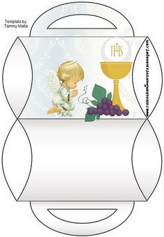 First Communion: Free Printable Party Boxes. Première Communion, First Holy Communion, Printable Box, Free Printables, 3d Cards, Stampin Up Cards, Faith Crafts, Catholic Kids, Religious Symbols