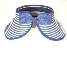 Viseira Infantil Feminina de Palha sintética Azul Escuro Listrado com Laço