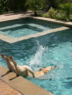 Belly flop into the pool!