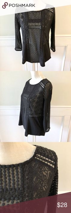"LUCKY BRAND Black Crochet Lace Blouse Top Shirt S Gorgeous top in like new condition. Sheer- base layer recommended. Pretty mix of crochet lace detailing and slub knit. Long sleeves. Round neck. Size Small.  Approximate measurements: 19"" across bust 24.5"" shoulder to hem Lucky Brand Tops Blouses"