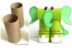 How to make elephant from rolls of toilet paper - ArtsyCraftsyDad Toilet Roll Craft, Toilet Paper Roll Art, Rolled Paper Art, Toilet Paper Roll Crafts, Projects For Kids, Diy For Kids, Craft Projects, Crafts For Kids, Recycled Crafts