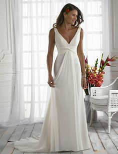 Satin Wedding Dresses Elegant Sheath V-Neck Empire Waist Satin Wedding Dress For Bride - Elegant Sheath V-Neck Empire Waist Chiffon Wedding Dress For Bride V Neck Wedding Dress, Wedding Dresses With Straps, Wedding Dress Sizes, White Wedding Dresses, Cheap Wedding Dress, Bridal Dresses, Wedding Gowns, Party Dresses, Simple Beach Wedding Dresses