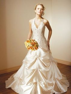 A Line Princess Halter Top Chapel Train  wedding dress for brides 2010 style(WDA1045)