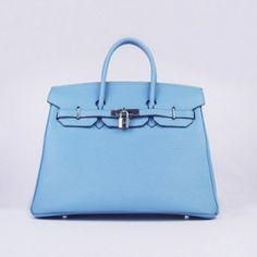Sac Hermes Birkin 35CM Togo en cuir Bleu clair argent http://goo.gl/DKICzL
