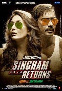 Rohit Shetty's upcoming film poster 'Singham Returns' was launched which has both Ajay Devgan and Kareena Kapoor Khan in it. Vaikundarajan adds that this is the sequel to the film 'Singham' which was a big hit Hindi Movie Song, Movie Songs, Cinema Movies, Movies 2014, Latest Movies, Bollywood Movies List, Bollywood Songs, Watch Hindi Movies Online, Watch Movies