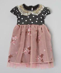 Loving this Gray & Mauve Cap-Sleeve Heartman Dress - Infant, Toddler & Girls on #zulily! #zulilyfinds
