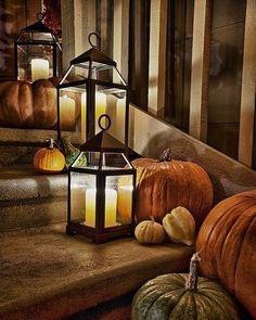 Thanksgiving Decorations, Seasonal Decor, Halloween Decorations, Holiday Decor, Fall Porch Decorations, Turkey Decorations, Halloween Lanterns, Thanksgiving Ideas, Halloween Mantel