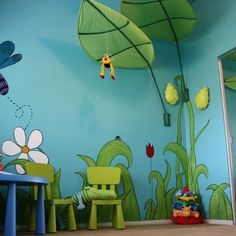 Great ideas for kids nature room wall murals painting for What kind of paint to use on kitchen cabinets for jungle nursery wall art