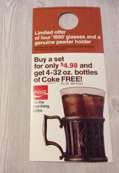 Coca Cola 75th anniversary special offer pewter mug buyer advertising premium hang tag by TreasuresFromTexas on Etsy