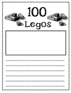 100 pieces in 20 different zip-loc bags. On the 100th day my students were each given a bag. They had to see what they could build with the 100 legos they were given. They worked on these throughout the day between other activities. At the end of the day they drew a picture of what they made and wrote about it. Here is a sample of the page they used for writing