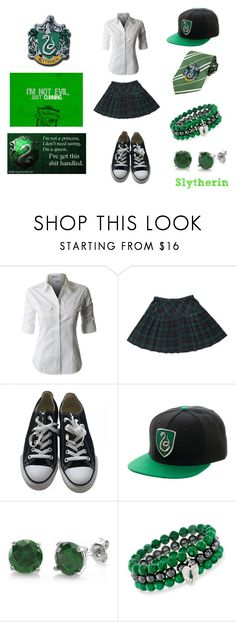 """""""Slytherin School Clothes"""" by little-flemo ❤ liked on Polyvore featuring Converse, BERRICLE and Ross-Simons"""