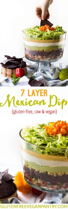 7 Layer Vegan Mexican Dip - vegan + gluten-free | glutenfreeveganpantry.com 7 Layer Mexican Dip, Layer Dip, Mexican Dips, Healthy Birthday Snacks, Birthday Party Appetizers, Birthday Dinner Recipes, Mexican Appetizer Recipes, Vegan Mexican Recipes, Raw Recipes