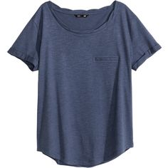H&M Jersey top ($9.16) ❤ liked on Polyvore featuring tops, t-shirts, dark blue, jersey tops, twist top, jersey knit tops, blue short sleeve top and short sleeve tops
