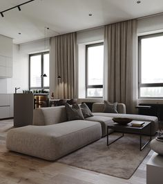 Modern home interiors with neutral decor colours. Featuring beautiful sofas, room divider ideas, modern kitchens, chic dining sets, and modern lighting designs. Design Loft, Loft Interior Design, Luxury Interior, Interior Architecture, Modern Design, Home Living Room, Living Room Designs, Living Room Decor, Living Room Green