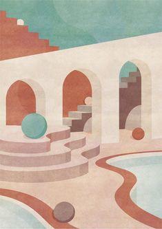 Simple Illustration, Digital Illustration, Abstract Geometric Art, Tapis Design, Map Wallpaper, Mid Century Modern Art, Architecture Art, Minimalist Architecture, Graphic Design Posters