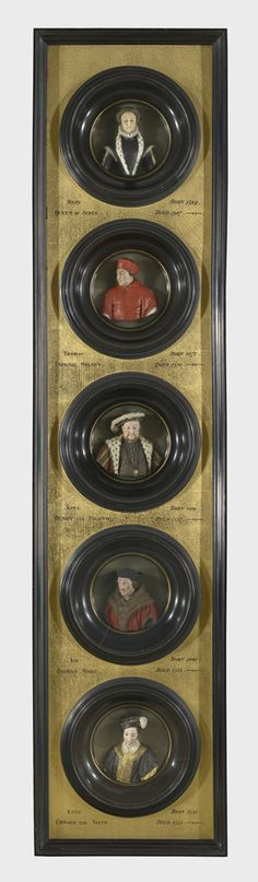 Wax portraits of Mary, Queen of Scots, Cardinal Wolsey, Henry VIII, Thomas More and Edward VI.