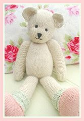 CANDY Bear is designed to the same format as MJT Rabbits and so you can knit any of the clothes from the Rabbit patterns for CANDY. Knitting Bear, Teddy Bear Knitting Pattern, Animal Knitting Patterns, Knitted Teddy Bear, Crochet Teddy, Knitted Dolls, Crochet Dolls, Teddy Bear Patterns Free, Little Cotton Rabbits